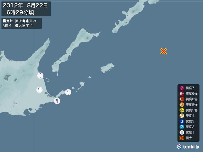 地震情報(2012年08月22日06時29分発生)