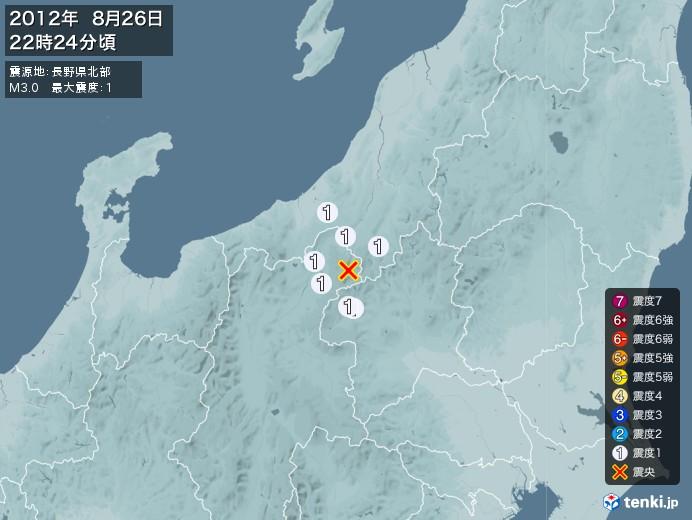 地震情報(2012年08月26日22時24分発生)
