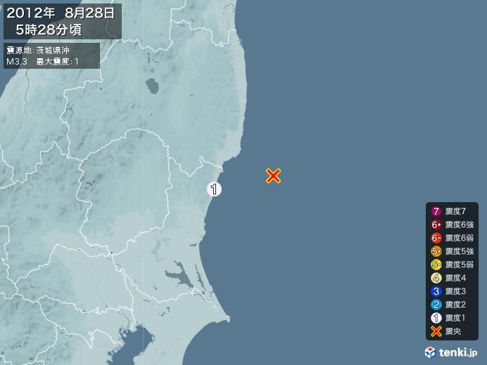 地震情報(2012年08月28日05時28分発生)
