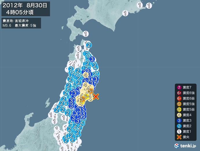 地震情報(2012年08月30日04時05分発生)