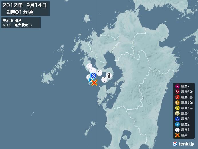 地震情報(2012年09月14日02時01分発生)