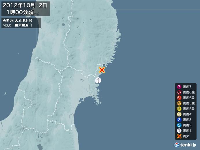 地震情報(2012年10月02日01時00分発生)