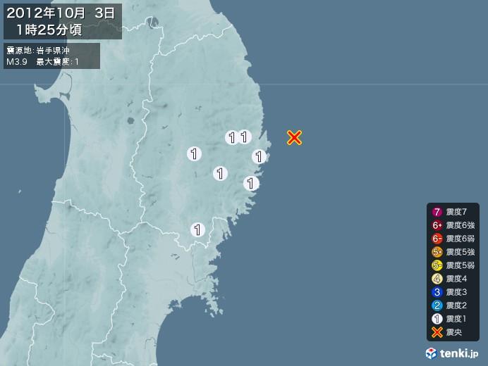 地震情報(2012年10月03日01時25分発生)
