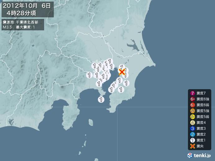 地震情報(2012年10月06日04時28分発生)