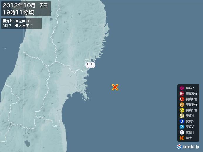 地震情報(2012年10月07日19時11分発生)
