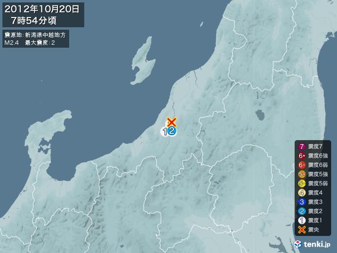 地震情報(2012年10月20日07時54分発生)