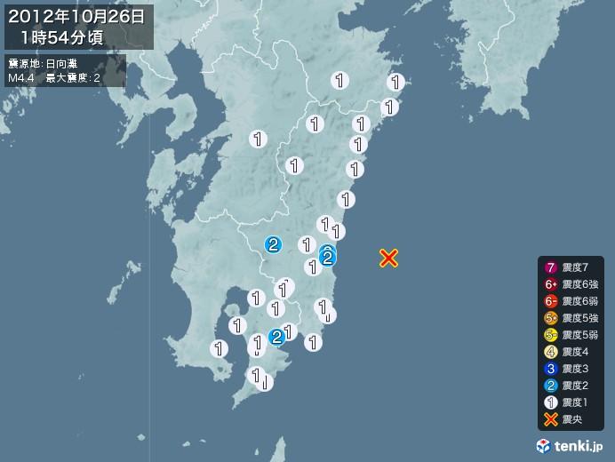 地震情報(2012年10月26日01時54分発生)