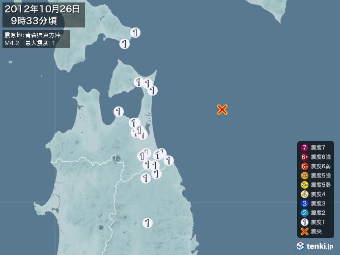 地震情報(2012年10月26日09時33分発生)