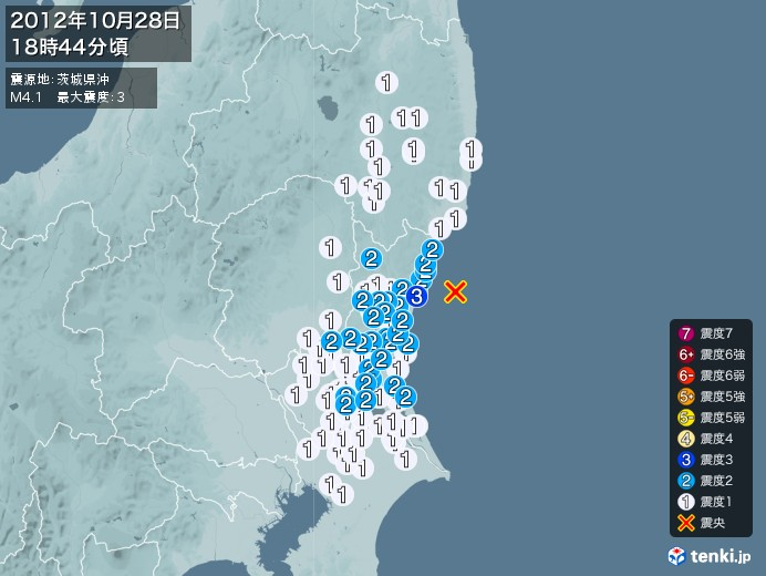 地震情報(2012年10月28日18時44分発生)