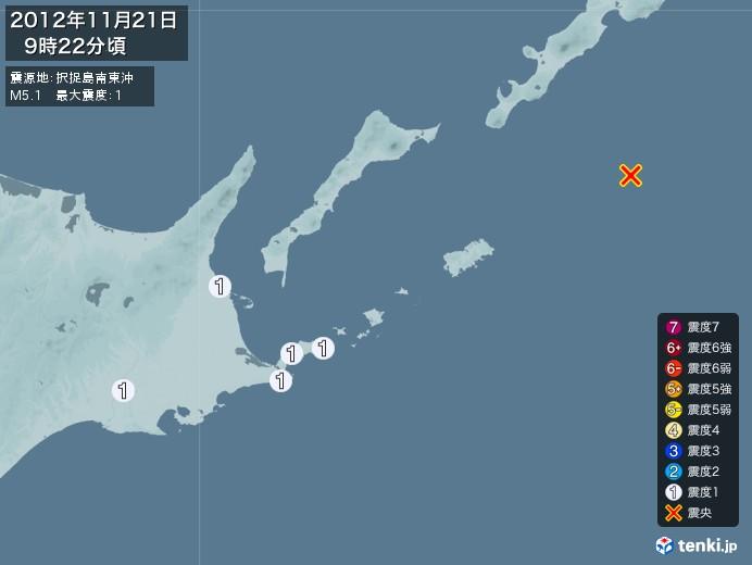 地震情報(2012年11月21日09時22分発生)