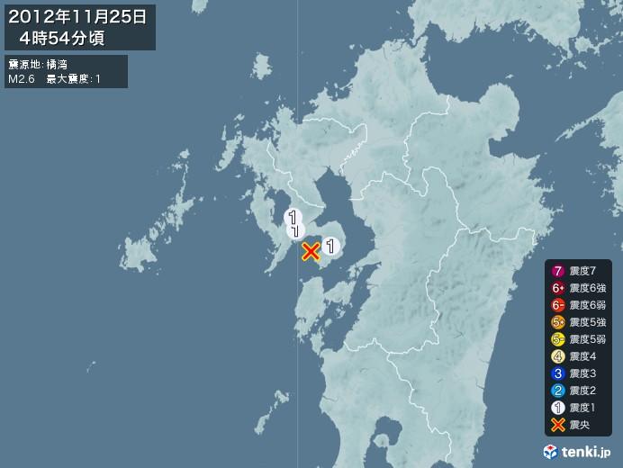 地震情報(2012年11月25日04時54分発生)