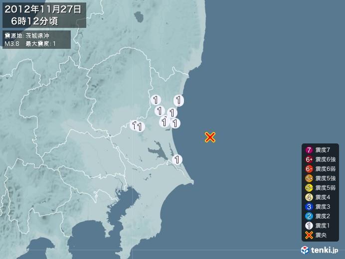 地震情報(2012年11月27日06時12分発生)