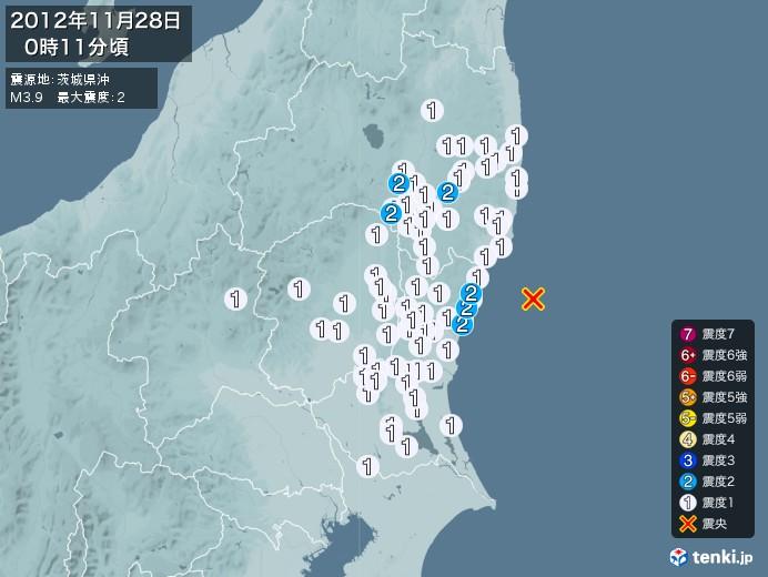 地震情報(2012年11月28日00時11分発生)