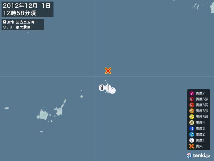 地震情報(2012年12月01日12時58分発生)