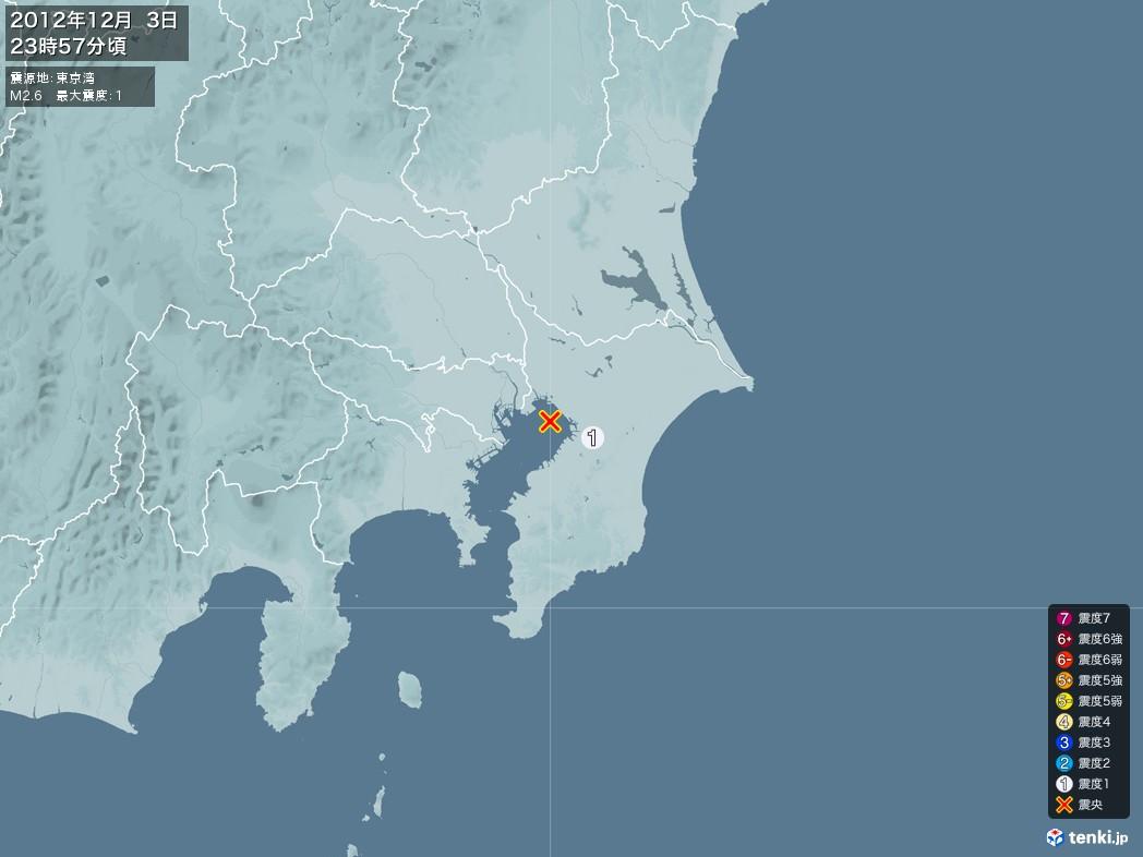 地震情報 2012年12月03日 23時57分頃発生 最大震度:1 震源地:東京湾(拡大画像)