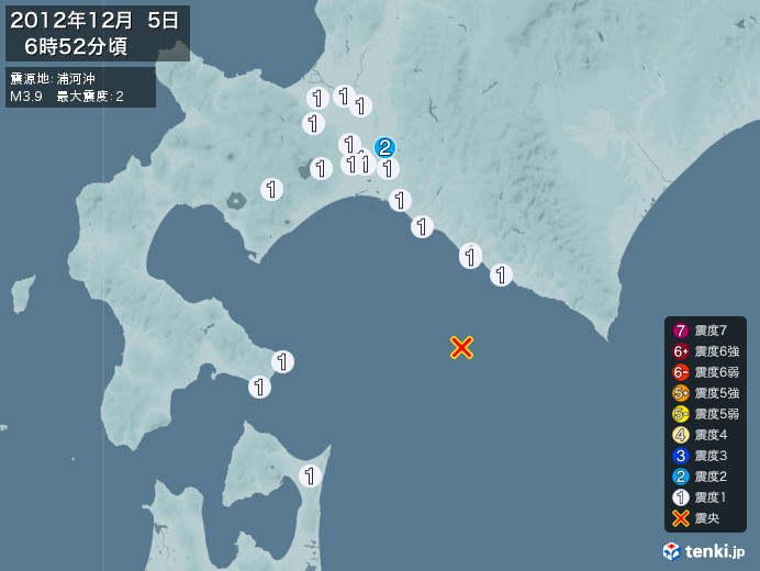 地震情報(2012年12月05日06時52分発生)