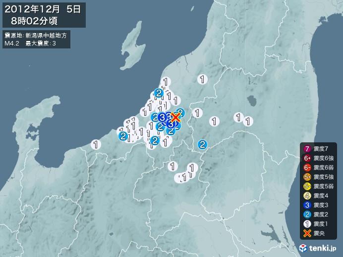 地震情報(2012年12月05日08時02分発生)