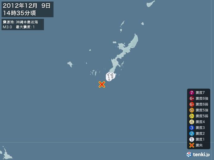 地震情報(2012年12月09日14時35分発生)