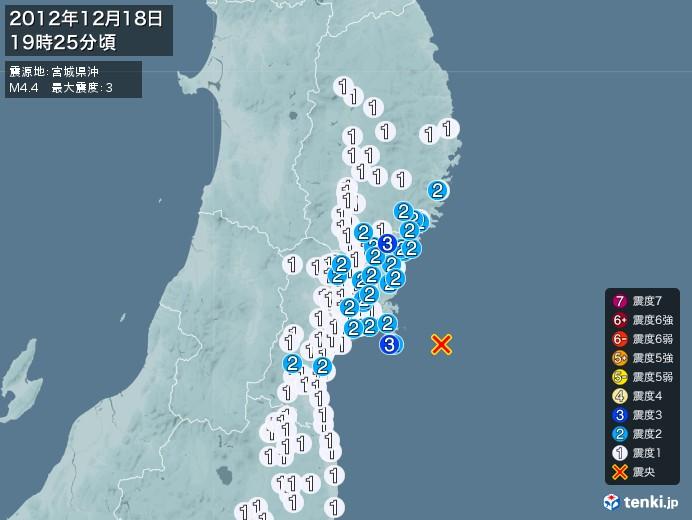 地震情報(2012年12月18日19時25分発生)