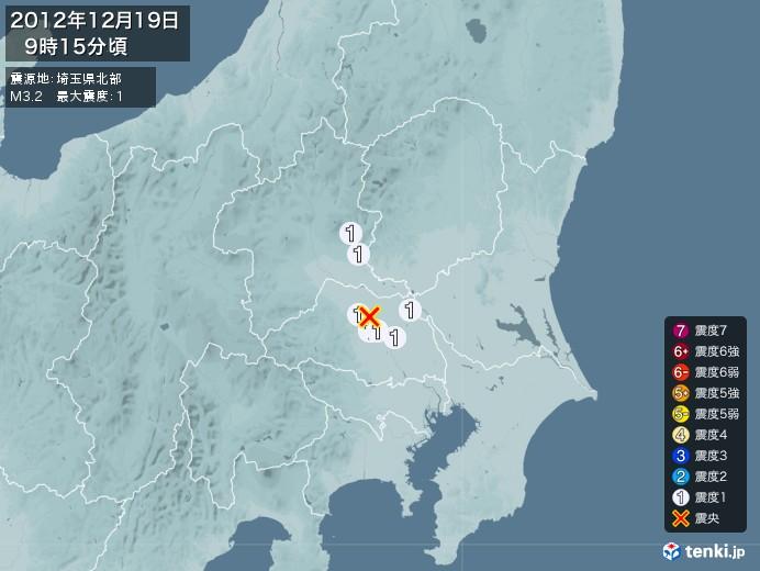 地震情報(2012年12月19日09時15分発生)