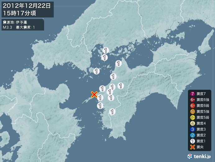 地震情報(2012年12月22日15時17分発生)