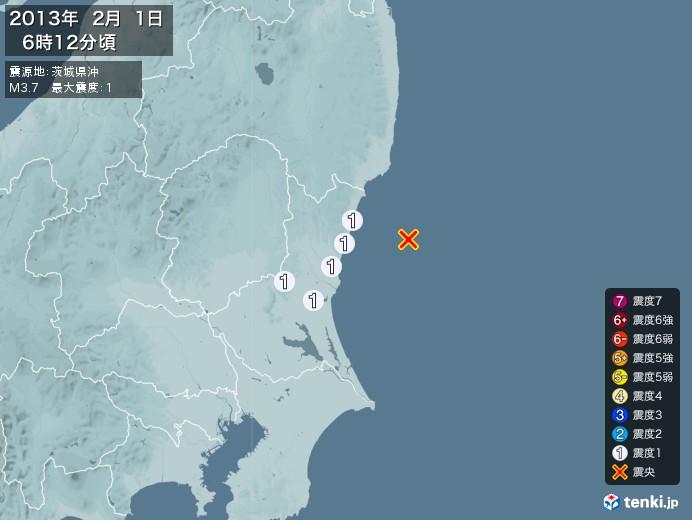 地震情報(2013年02月01日06時12分発生)