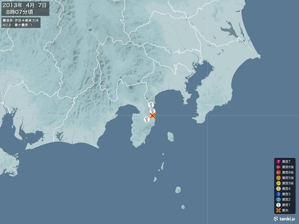 地震情報 2013年04月07日 08時07分頃発生 最大震度:1 震源地:伊豆半島東方沖(拡大画像)