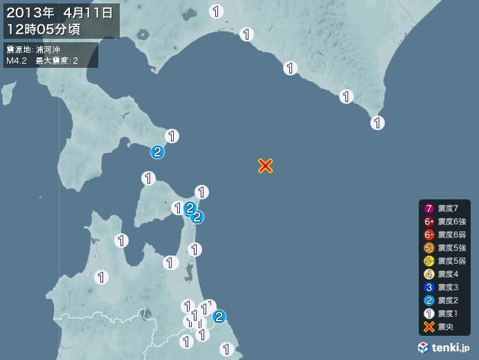 地震情報(2013年04月11日12時05分発生)