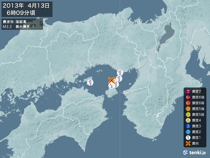 地震情報(2013年04月13日06時09分発生)
