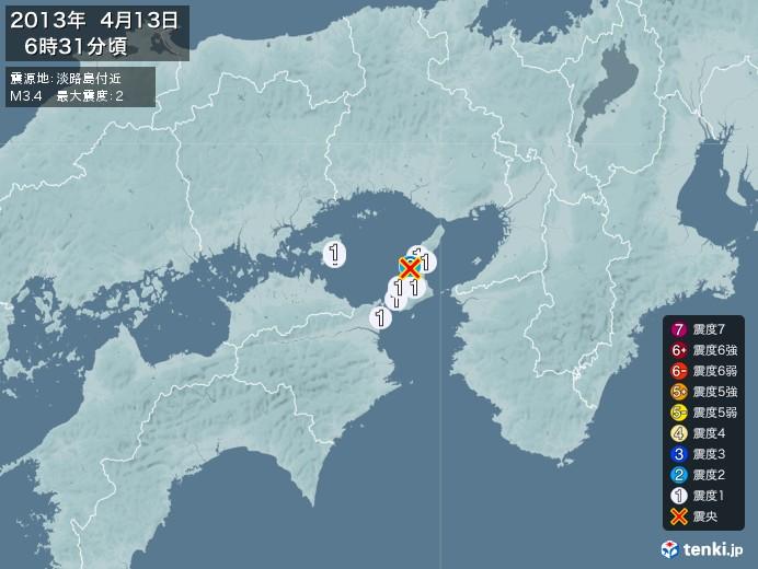 地震情報(2013年04月13日06時31分発生)