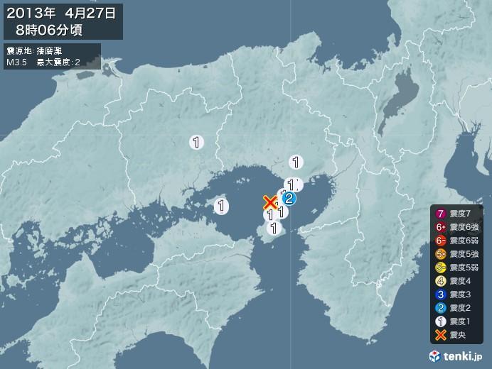 地震情報(2013年04月27日08時06分発生)