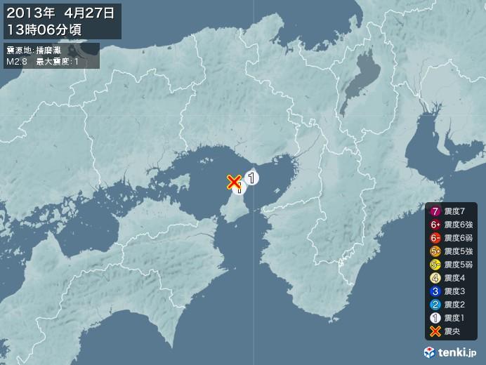 地震情報(2013年04月27日13時06分発生)