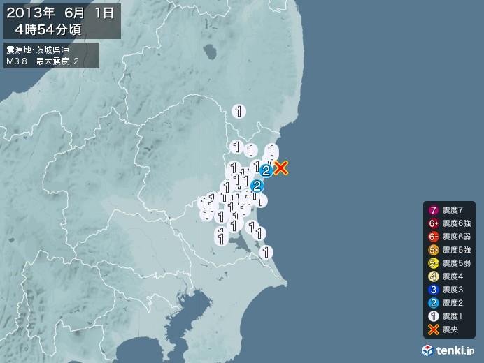 地震情報(2013年06月01日04時54分発生)