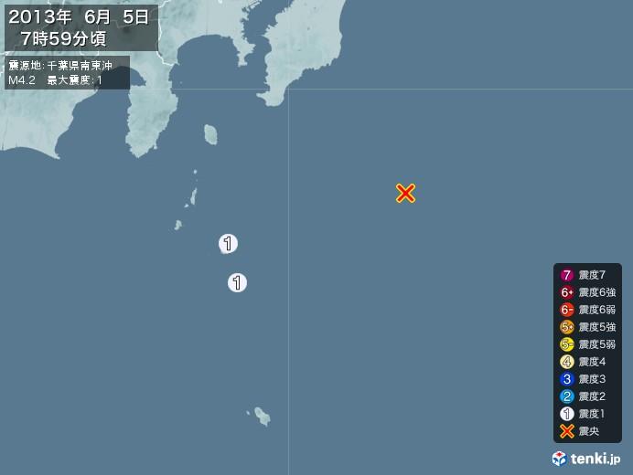 地震情報(2013年06月05日07時59分発生)