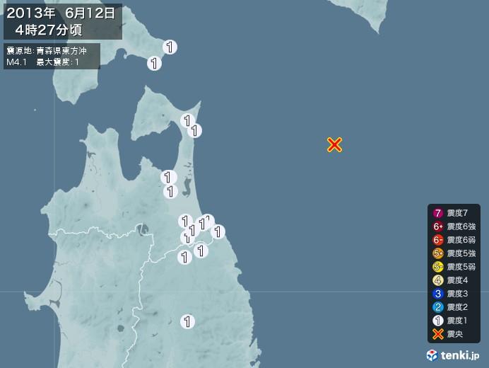 地震情報(2013年06月12日04時27分発生)