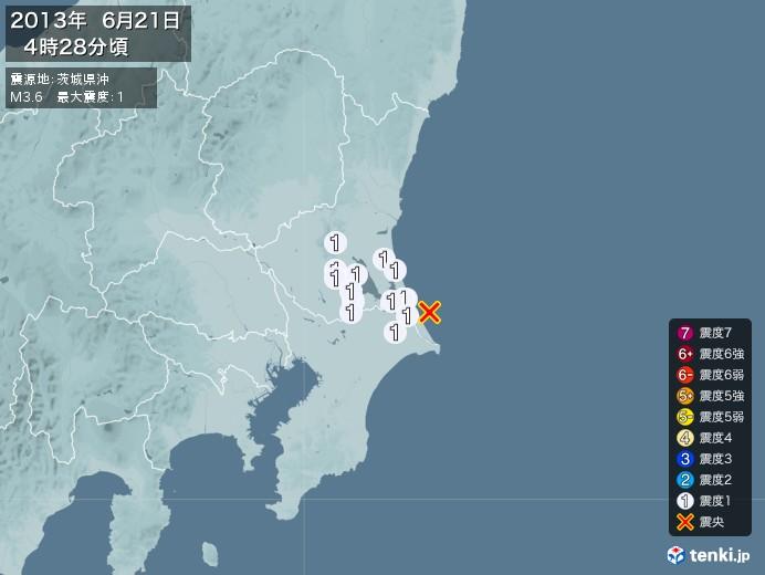 地震情報(2013年06月21日04時28分発生)