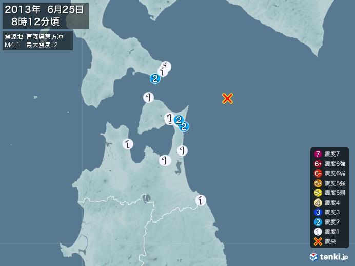 地震情報(2013年06月25日08時12分発生)