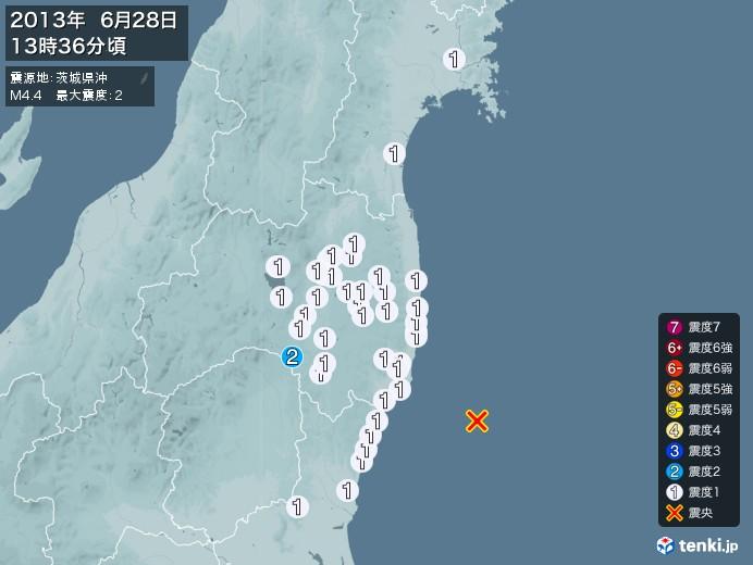 地震情報(2013年06月28日13時36分発生)