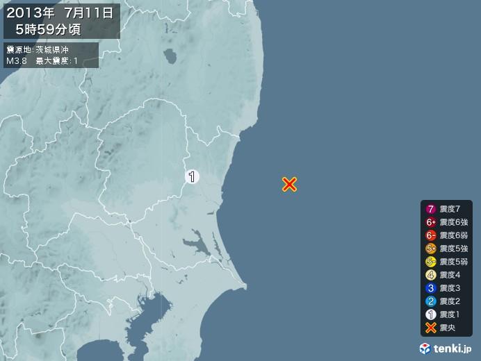 地震情報(2013年07月11日05時59分発生)