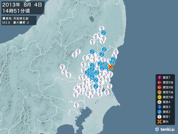 地震情報(2013年08月04日14時51分発生)