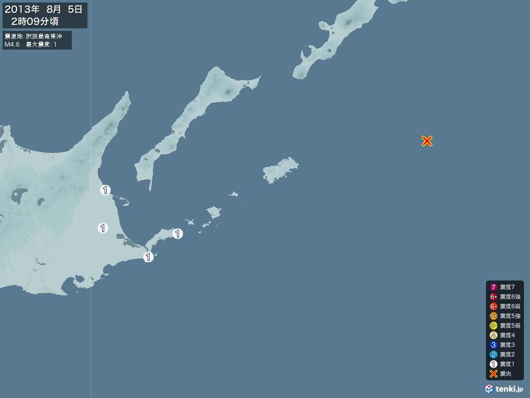 地震情報 2013年08月05日 02時09分頃発生 最大震度:1 震源地:択捉島南東沖(拡大画像)