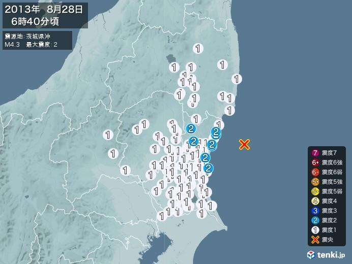 地震情報(2013年08月28日06時40分発生)