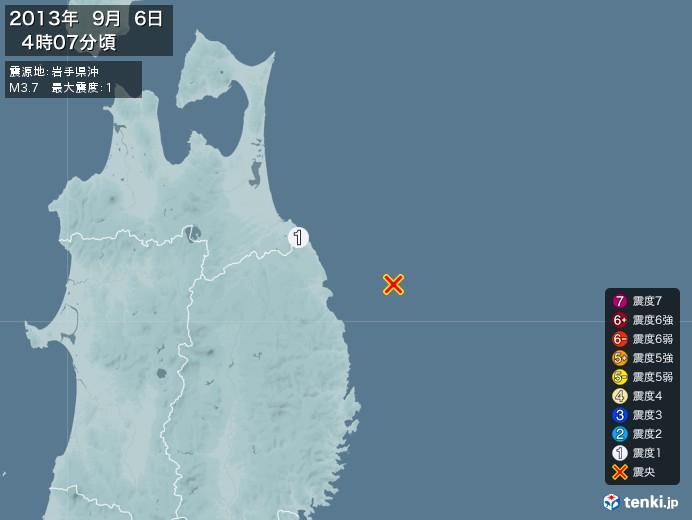 地震情報(2013年09月06日04時07分発生)