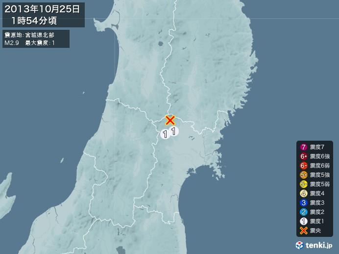 地震情報(2013年10月25日01時54分発生)