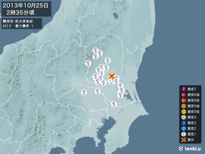 地震情報(2013年10月25日02時35分発生)