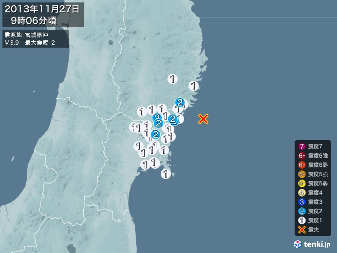 地震情報(2013年11月27日09時06分発生)