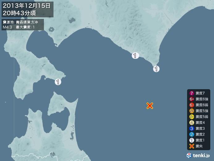 地震情報(2013年12月15日20時43分発生)
