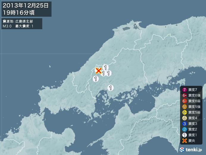 地震情報(2013年12月25日19時16分発生)