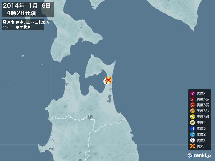 地震情報(2014年01月06日04時28分発生)