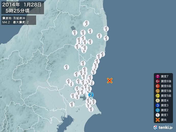 地震情報(2014年01月28日05時25分発生)